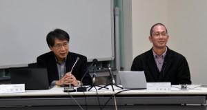 PRIUSでの研究成果を記者説明会で説明する入舩GRCセンター長(左),高野NIMSグループリーダー(右)