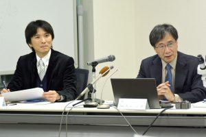 記者説明会にて(右:入舩徹男GRCセンタ―長、左:大藤弘明GRC教授)